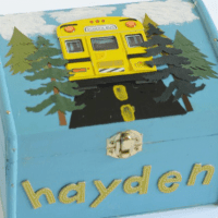 Treasure Box Blue with school bus painted on box