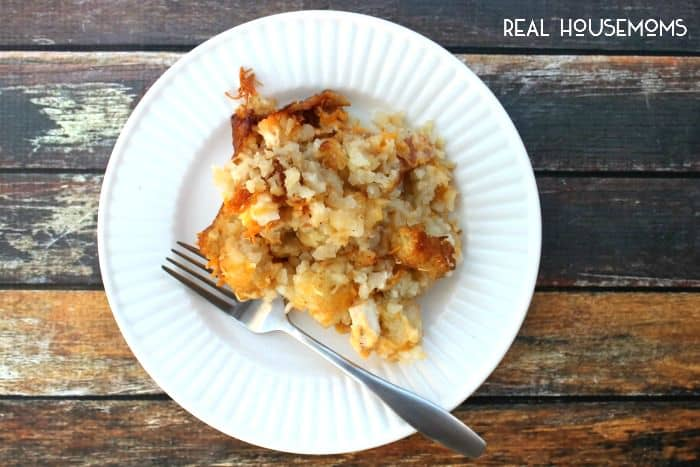 Crock Pot Cheesy Chicken, Bacon, & Tater Tot Bake is a delicious and super easy meal to put together! Your whole family will love it!