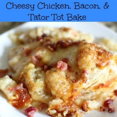 crock pot cheesy chicken bacon and tater tot bake on a white plate