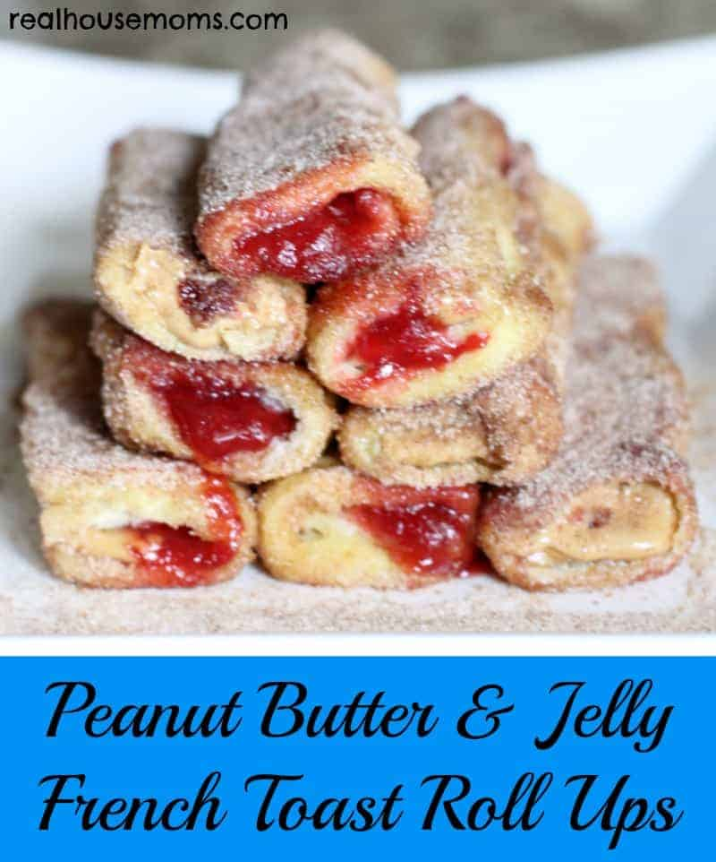 peanut butter and jelly french toast roll ups stacked on a dish