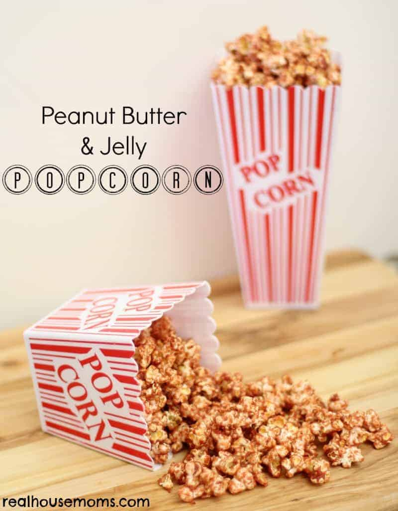 peanut butter and jelly popcorn in popcorn boxes