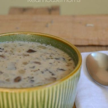 skinny cream of mushroom soup in a bowl