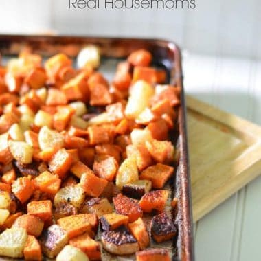 maple roasted vegetables in a sheet pan