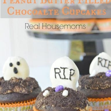 halloween themed peanut butter filled chocolate cupcakes