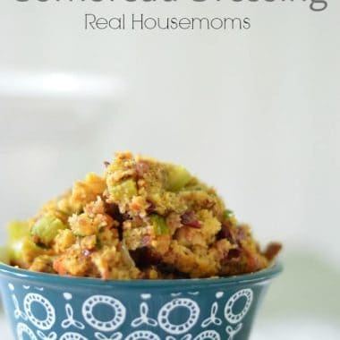 apple and cranberry cornbread dressing in a bowl