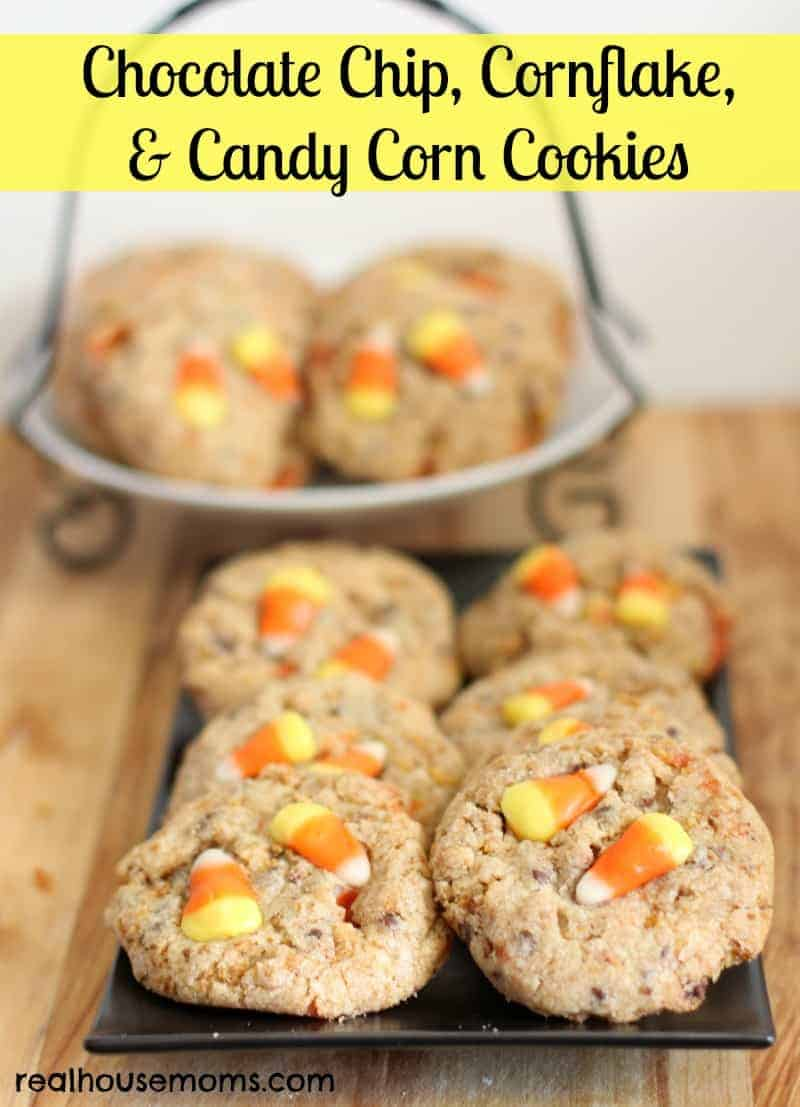 chocolate chip, cornflake, and candy corn cookies