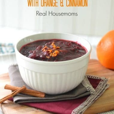 cranberry sauce with orange and cinnamon in a bowl