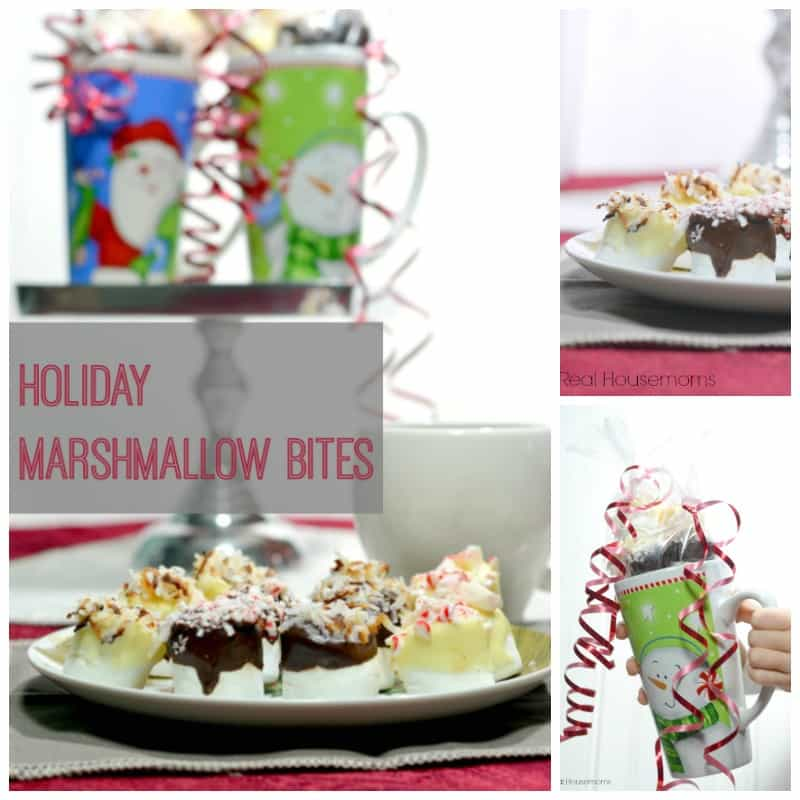 collage of images with holiday marshmallow bites