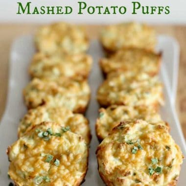 mashed potato puffs on a serving platter