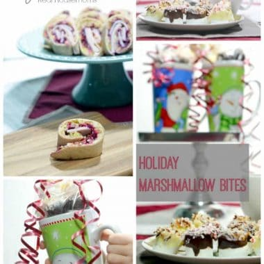 collage of images with pilgrim pinwheels and holiday marshmallow bites