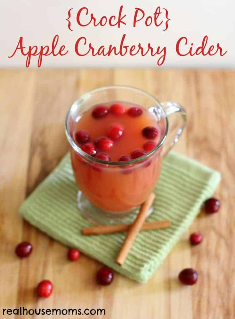 crockpot apple cranberry cider in a mug