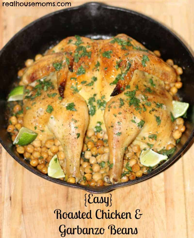 easy roasted chicken and garbanzo beans in a cast iron pot