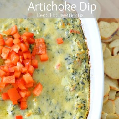 jalapeno spinach artichoke dip in a baking dish