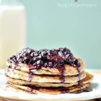 Banana Oatmeal Pancakes with Berry Sauce_Real Housemoms
