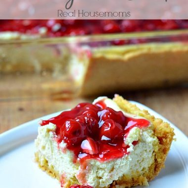cake mix cherry cheesecake topped with cherries in syrup
