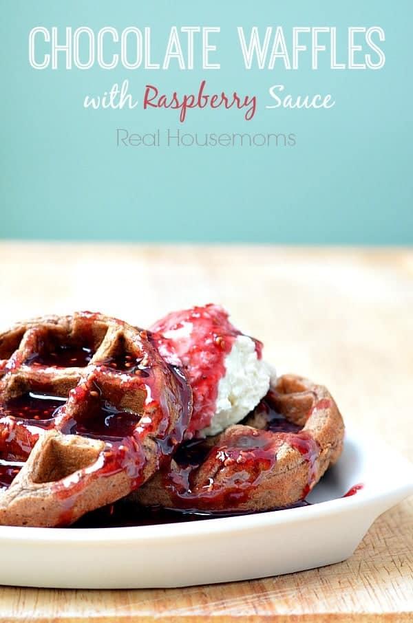 Chocolate Waffles with Raspberry Sauce