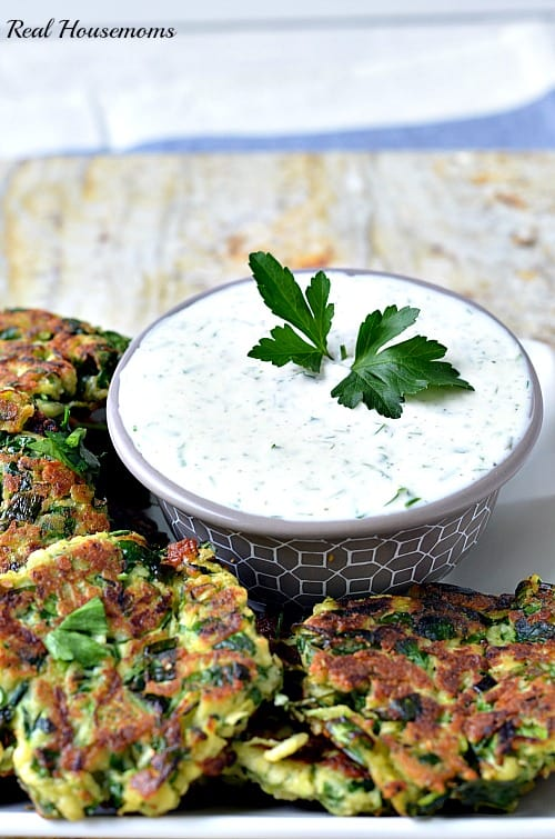 Zucchini Fritters with Greek Yogurt Ranch Dressing_dressing