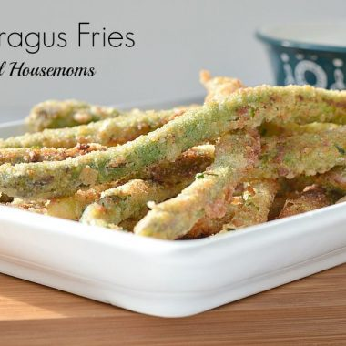 breaded asparagus fries on a plate
