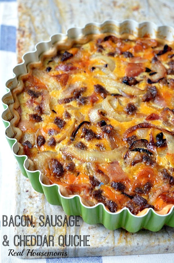 Bacon Sausage and Cheddar Quiche_Real Housemoms