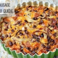 Bacon Sausage and Cheddar Quiche | Real Housemoms | #breakfast #quiche