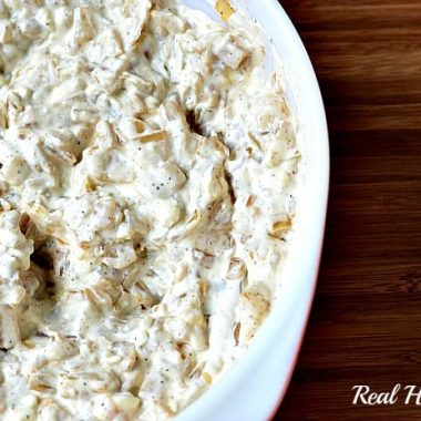 caramelized onion dip in a dish