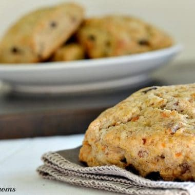 carrot raisin scones on a napkin and in a bowl