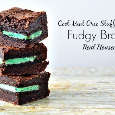 stack of cool mint oreo stuffed fudgy brownie slices