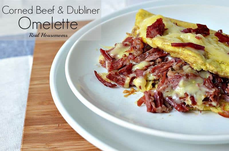 corned beef and dubliner omelette on a white plate