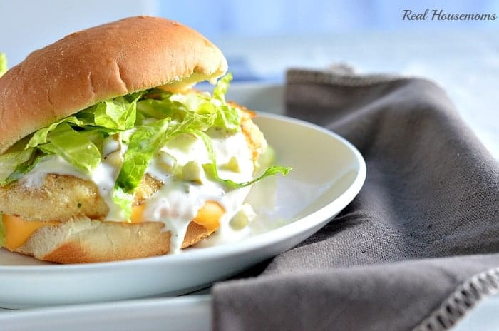 Fish fillet sandwich with homemade tartar sauce real for Fish sandwich calories