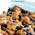 lemon blueberry french toast bake in a baking dish
