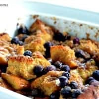lemon and blueberry french toast bake in a baking dish