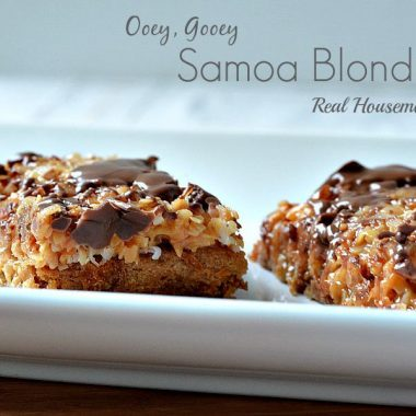ooey gooey samoa blondies on a plate