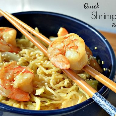 quick shrimp stir fry with chopsticks in a bowl