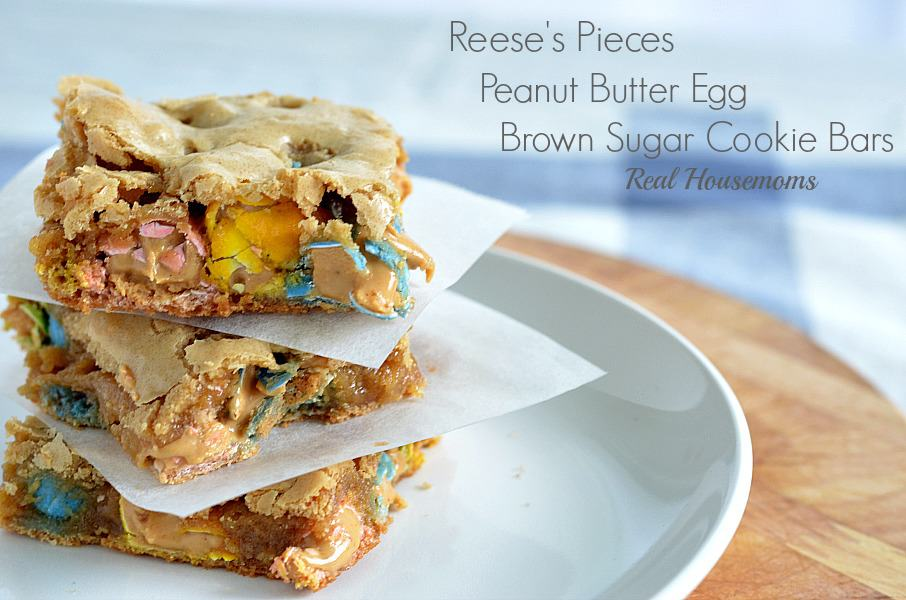 Reese's Pieces Peanut Butter Egg Brown Sugar Bars - Real Housemoms