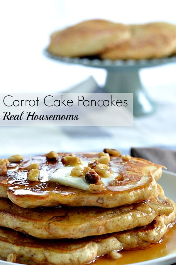 carrot cake pancakes stack topped with syrup