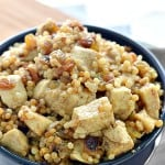 chicken and israeli cous cous in a bowl