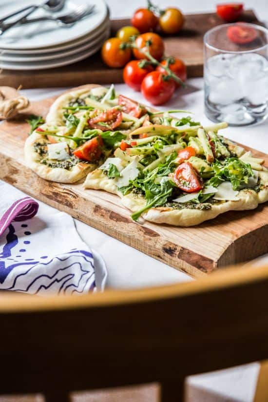 Pesto Flatbread with Microgreens Salad