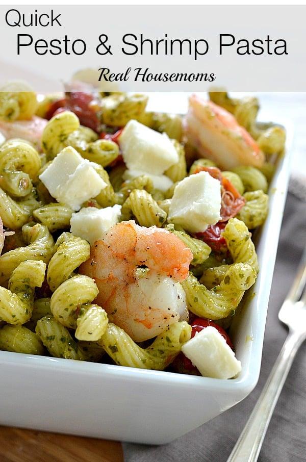 Quick Pesto and Shrimp Pasta_Real Housemoms