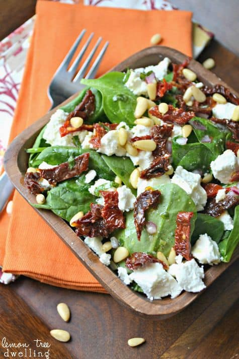 Sicilian Spinach Salad with Fresh Basil Vinaigrette