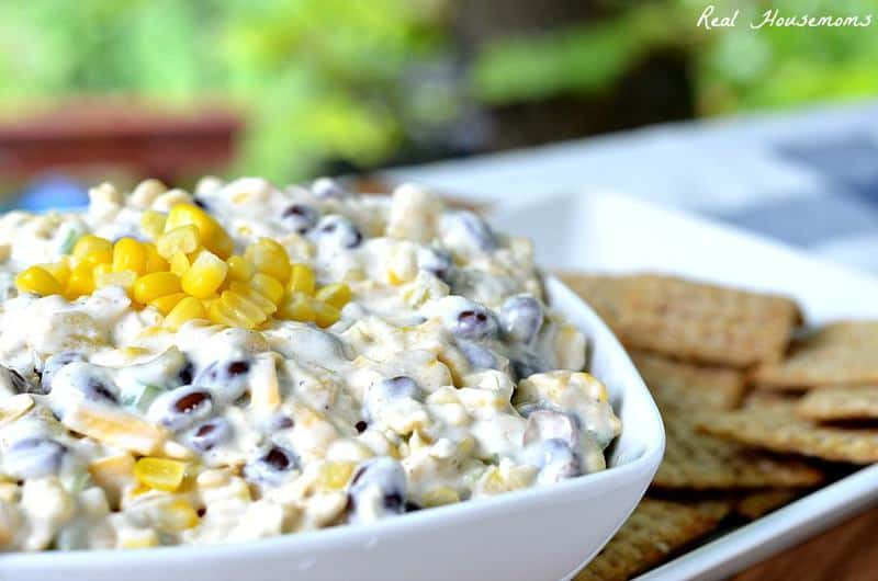 Cheesy Roasted Corn and Black Bean Dip