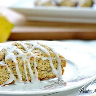 Lemon Poppy Seed Scones with drizzled glaze