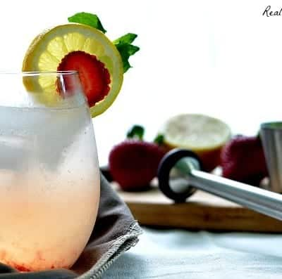Moscato Strawberry and Lemon Mojitos