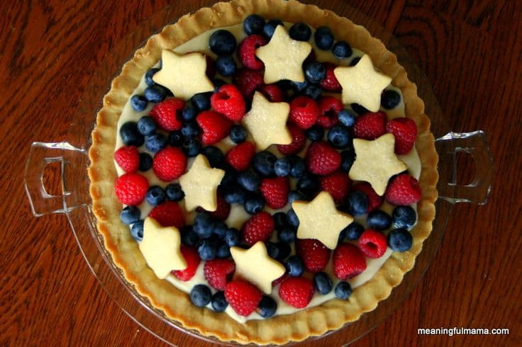 Red, White, and Blue Sugar Cookie Tart