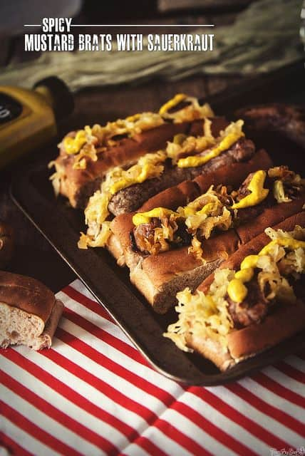 Spicy Mustard Brats with Sauerkraut