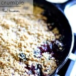 Classic Blackberry Crumble in a cast iron skillet