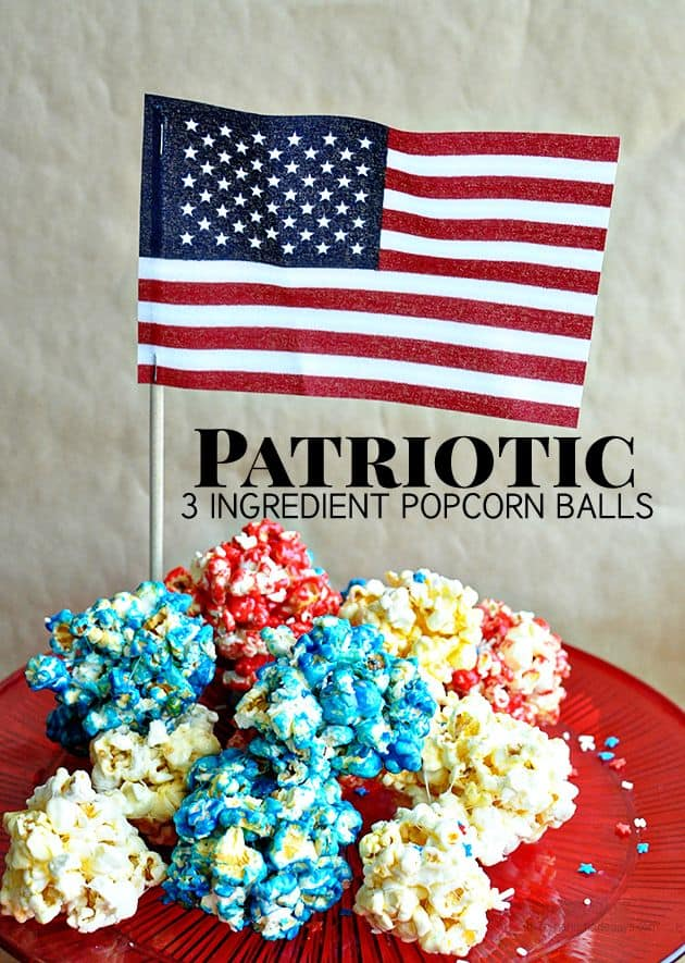 Patriotic 3 Ingredient Popcorn Balls