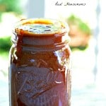 Sweet and Tangy Barbecue Sauce stored in a mason jar
