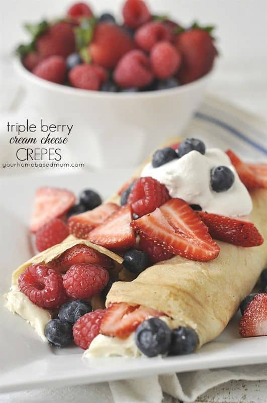 Triple Berry Cream Cheese Crepes