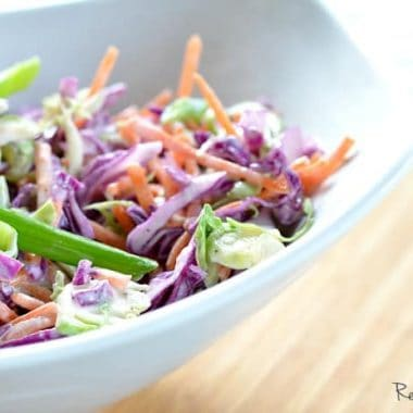 brussels sprouts, purple cabbage and carrot slaw | Real Housemoms
