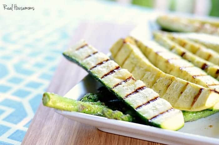 Super Simple Grilled Summer Veggies zookini's on a plate